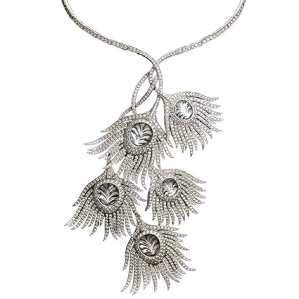 Колье Carrera y Carrera Peacock, белое золото, бриллианты, хрусталь
