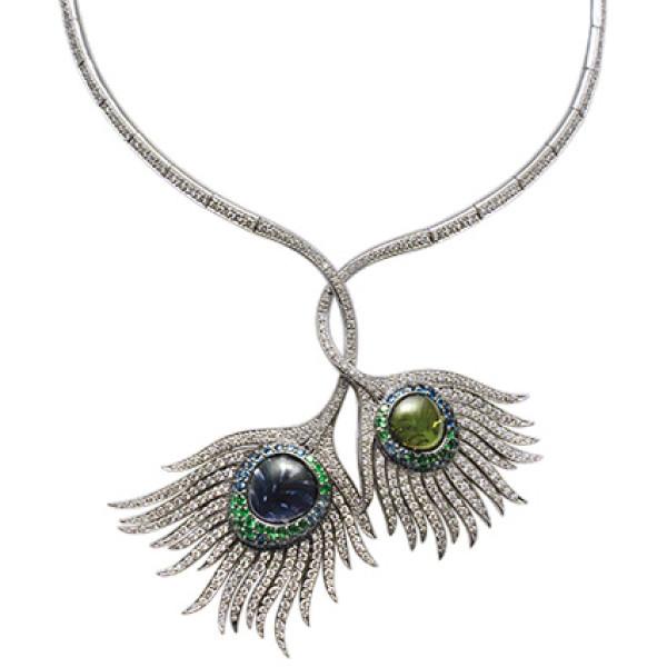 Колье Carrera y Carrera Peacock, белое золото, бриллианты, драг. камни