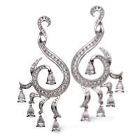 Серьги Carrera y Carrera Peacock, белое золото, бриллианты