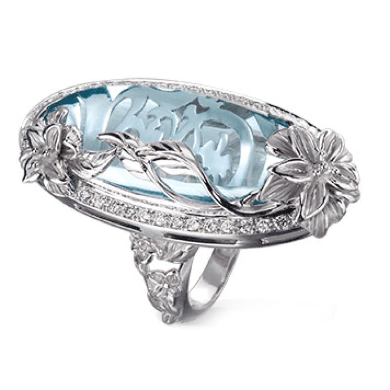 Кольцо Carrera y Carrera Emperatriz, белое золото, бриллианты, топаз