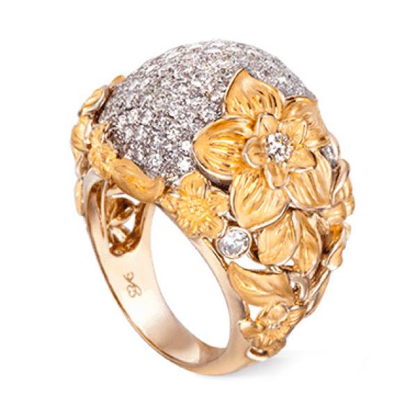 Кольцо Carrera y Carrera Emperatriz, белое и желтое золото, бриллианты
