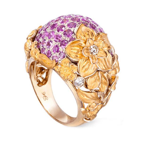 Кольцо Carrera y Carrera Emperatriz, белое и желтое золото, бриллианты, сапфир