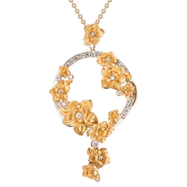 Подвеска Carrera y Carrera Emperatriz, белое и желтое золото, бриллианты