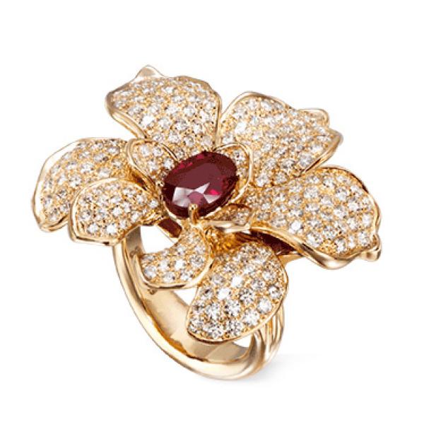 Кольцо Carrera y Carrera Orquideas, желтое золото, бриллианты, рубин