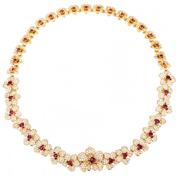 Колье Carrera y Carrera Orquideas, желтое золото, бриллианты, рубины