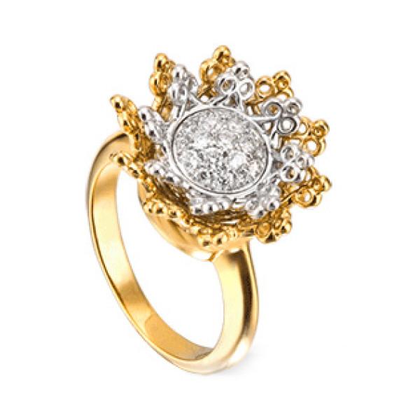 Кольцо Carrera y Carrera Reina, белое, желтое золото, бриллианты