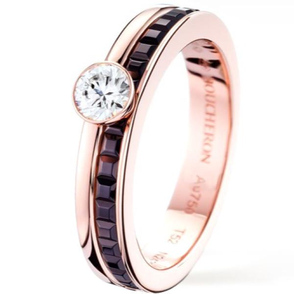 Кольцо Boucheron Quatre, розовое золото, PVD, бриллиант