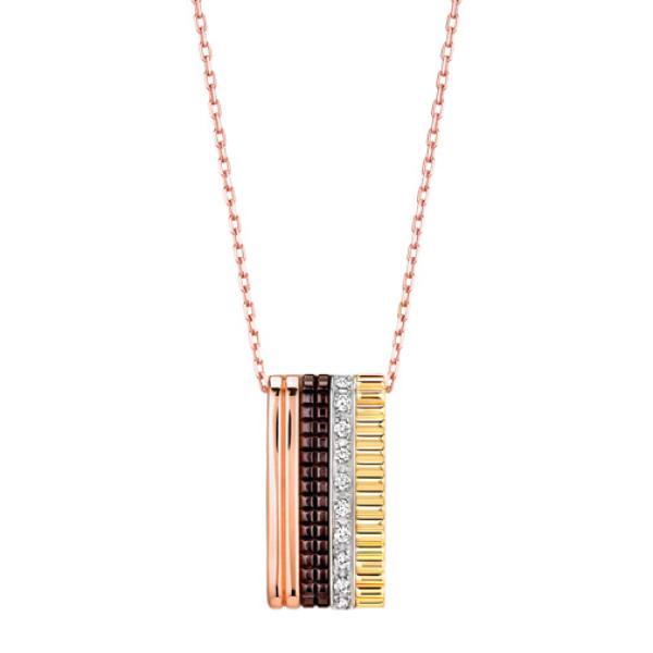 Подвеска Boucheron Quatre, белое, желтое, розовое золото, PVD, бриллианты