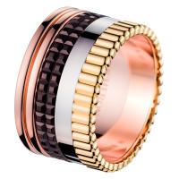 Кольцо Boucheron Quatre, белое, желтое, розовое золото, PVD