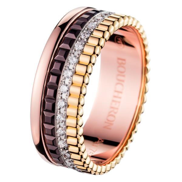 Кольцо Boucheron Quatre, белое, желтое, розовое золото, PVD, бриллианты