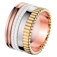 Кольцо Boucheron Quatre, белое, желтое, розовое золото, керамика