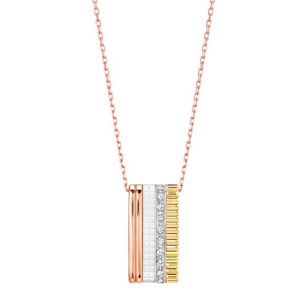 Подвеска Boucheron Quatre, белое, желтое, розовое золото, керамика, бриллианты