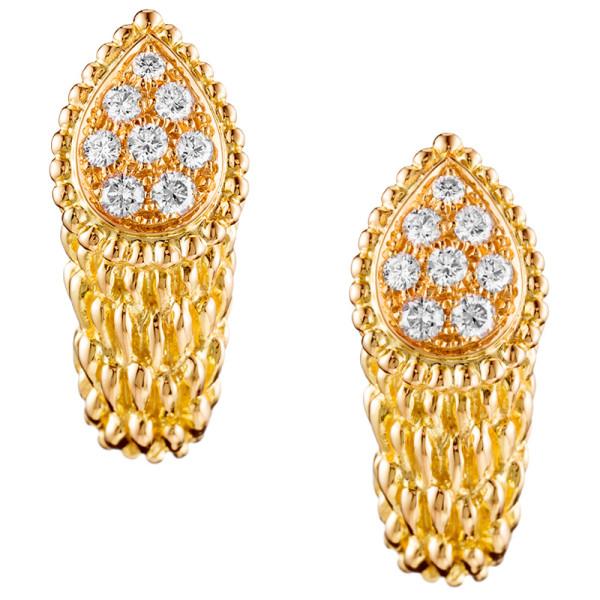 Серьги Boucheron Serpent Boheme, желтое золото, бриллианты