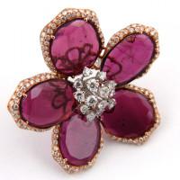 Кольцо Luca Carati, белое, розовое золото, бриллианты, турмалин