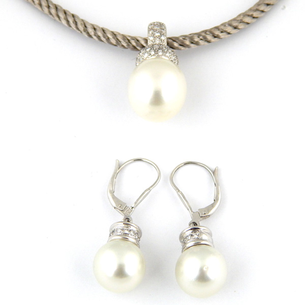 Набор Bucherer, белое золото, жемчуг, бриллианты
