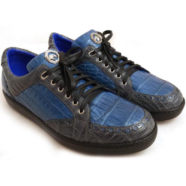 Кроссовки Stefano Ricci, синие с черным, кожа крокодила