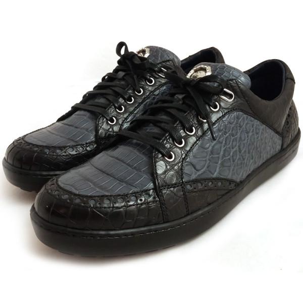 Кроссовки Stefano Ricci, серые с черным, кожа крокодила