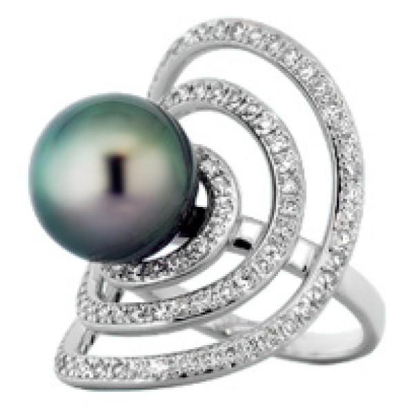Кольцо H Stern, белое золото, бриллианты, жемчуг