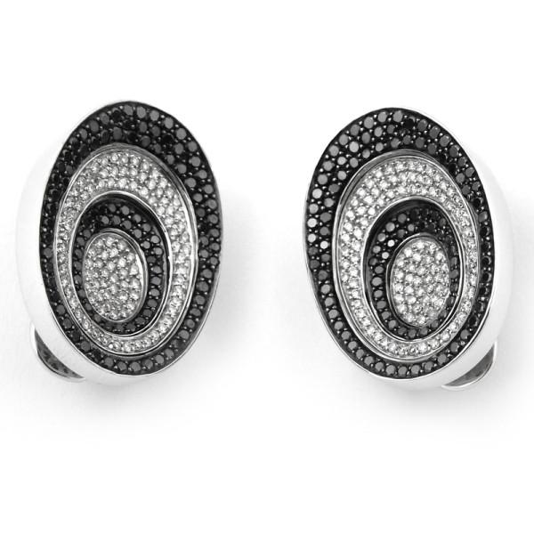 Серьги Zancan, белое золото, белые, черные бриллианты