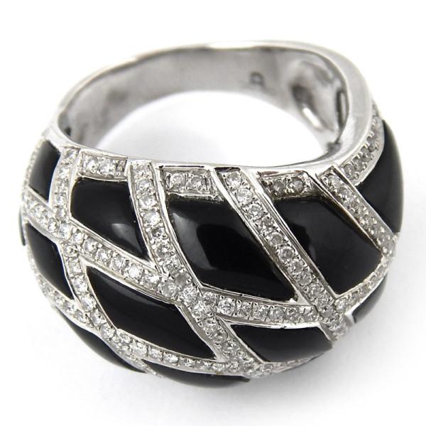 Кольцо Crivelli, белое золото, бриллианты, оникс