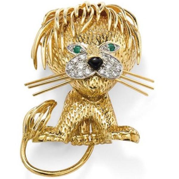 Брошь Van Cleef & Arpels Lion, желтое золото, бриллианты