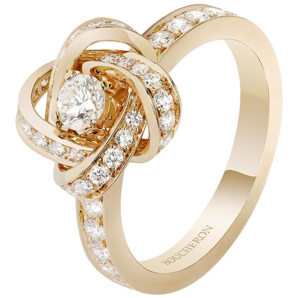 Кольцо Boucheron Pivoine, желтое золото, бриллианты