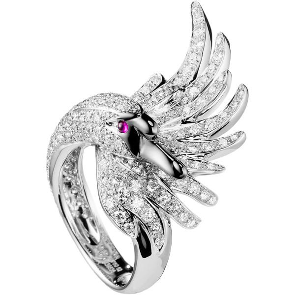 Кольцо Boucheron Animals Cypris, белое золото, бриллианты, рубины