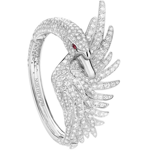 Браслет Boucheron Animals Cypris, белое золото, бриллианты, рубины