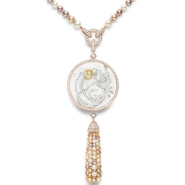 Колье Boucheron Animals Hera, белое, розовое золото, жемчуг, бриллианты