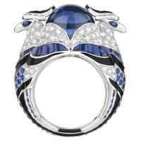 Кольцо Boucheron Animals Chinha, белое золото, танзанит, бриллианты, сапфиры
