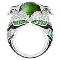 Кольцо Boucheron Animals Chinha, белое золото, турмалин, бриллианты, цавориты