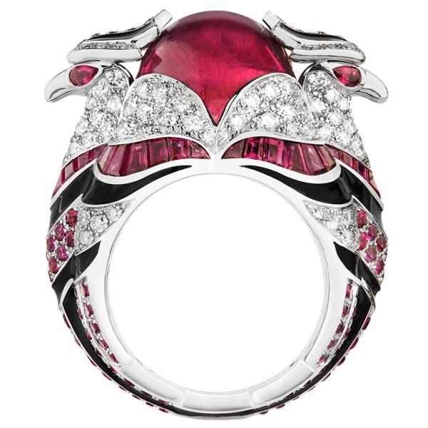 Кольцо Boucheron Animals Chinha, белое золото, рубеллит, бриллианты, рубины