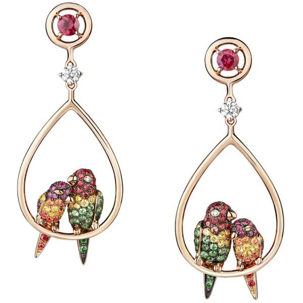 Серьги Boucheron Animals Nuri, розовое золото, сапфиры, бриллианты, цавориты