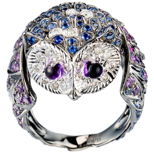 Кольцо Boucheron Animals Noctua, белое золото, сапфиры, бриллианты, аметисты