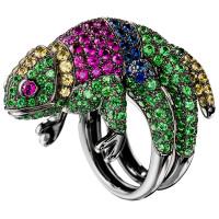 Кольцо Boucheron Animals Masy, белое золото, сапфиры, цавориты, рубины