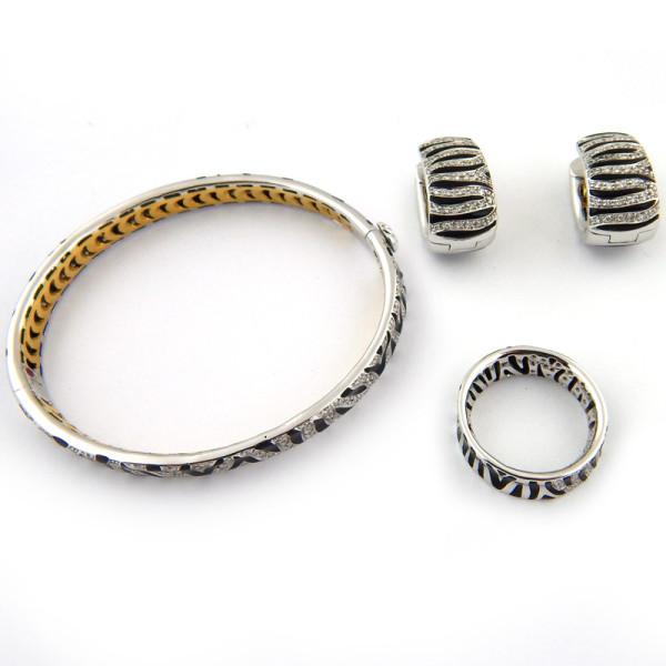 Набор Roberto Coin, браслет, серьги, кольцо, белое золото бриллианты