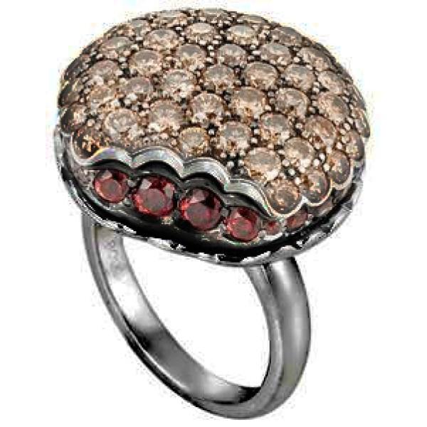 Кольцо Boucheron Macaron, черненое золото, коньячные бриллианты, рубины