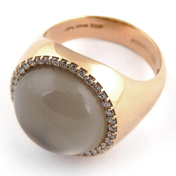 Кольцо Roberto Coin Cocktail, розовое золото, жемчуг, бриллианты