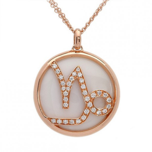 Кулон Luca Carati Zodiac, розовое золото, бриллианты, агат