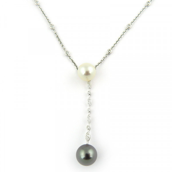 Ожерелье Damiani, белое золото, бриллианты, жемчуг