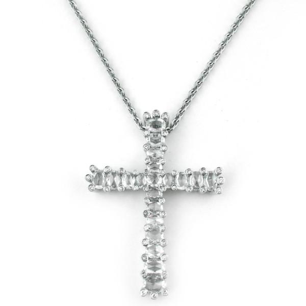 Подвеска-крестик Luca Carati, белое золото, бриллианты