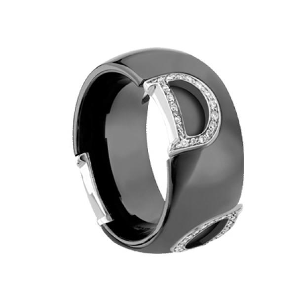 Кольцо Damiani D.Icon, керамика, белое золото, бриллианты