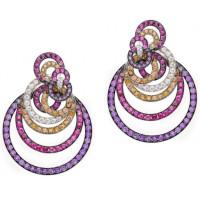 Серьги deGrisogono Gypsy, белое золото, бриллианты, разноцветные камни