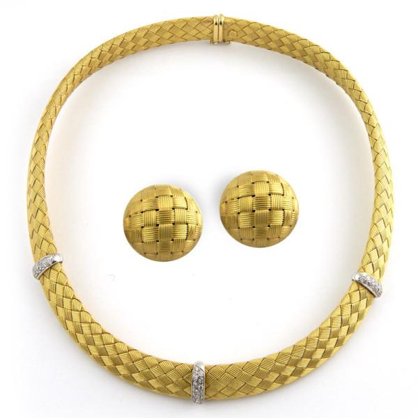 Набор Roberto Coin, желтое золото, бриллианты