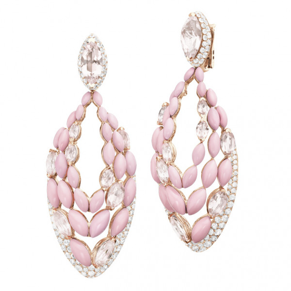 Серьги de Grisogono Melody Of Colours, розовое золото, бриллианты, опал, морганит