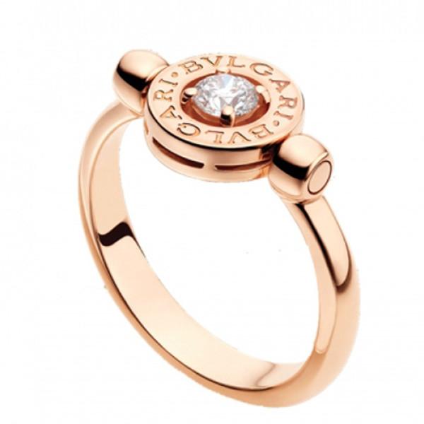 Кольцо с бриллиантом Bulgari-Bulgari, розовое золото