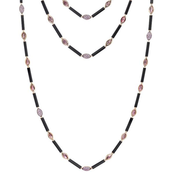 Ожерелье de Grisogono Melody Of Colours, розовое золото, сапфиры, оникс, турмалин