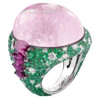 Кольцо de Grisogono Melody Of Colours, белое золото, турмалин, бриллианты, изумбуды, рубины