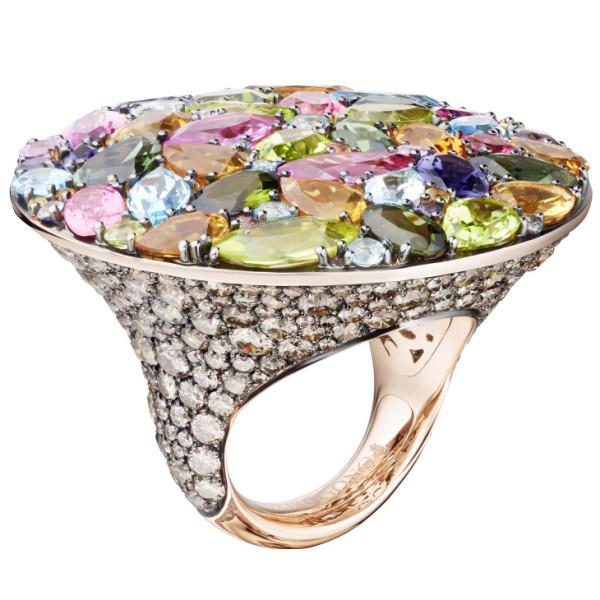 Кольцо de Grisogono Melody Of Colours, розовое золото, драгоценные камни