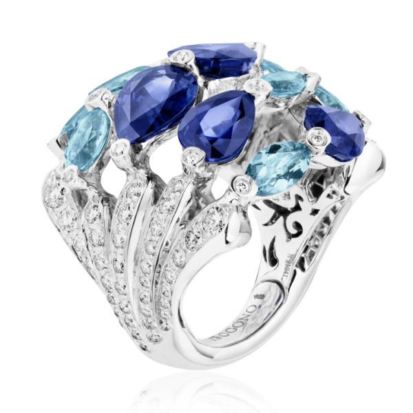 Кольцо de Grisogono Melody Of Colours, белое золото, бриллианты, сапфиры, аквамарины